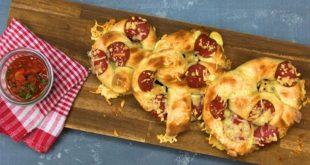 Pizza-Brezel mit Mozzarella